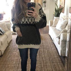 Handmade Mohair camel cactus print tunic sweater